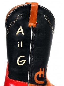 Personalising: initials on boot shaft